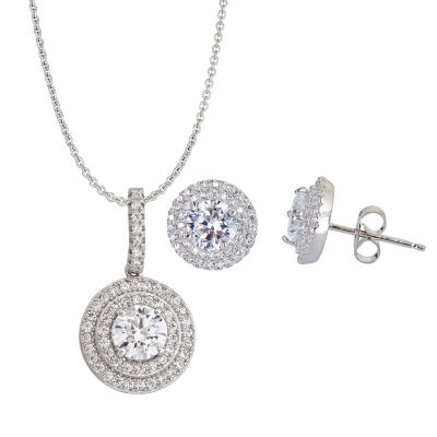 Womens 3-pc. 2 CT. T.W. Cubic Zirconia Sterling Silver Jewelry Set