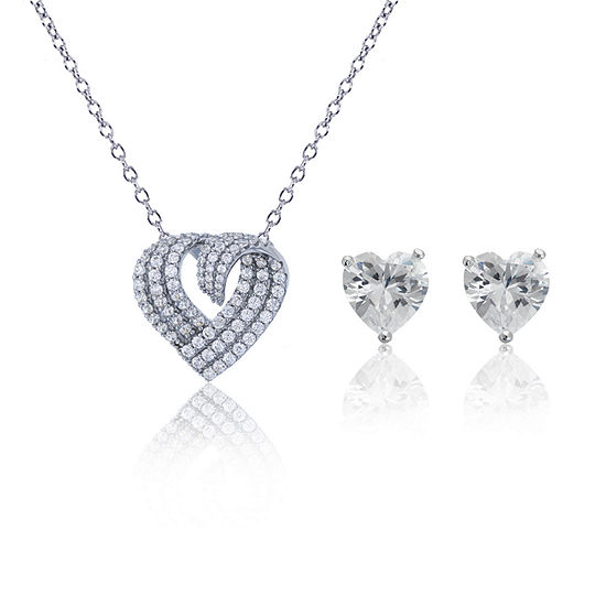 Womens 2-pc. 5 CT. T.W. Cubic Zirconia Sterling Silver Jewelry Set