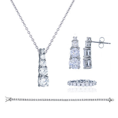 Womens 4-pc. Greater Than 6 CT. T.W. Cubic Zirconia Sterling Silver Jewelry Set