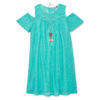 Speechless Short Sleeve Cold Shoulder Sleeve Shift Dress - Big Kid Girls Plus
