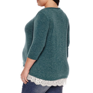 3/4 Sleeve Scoop Neck Pullover Sweater-Maternity