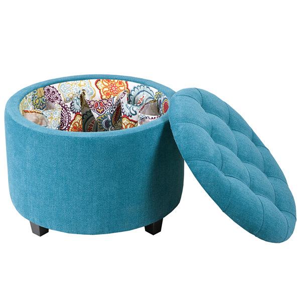 Madison Park Naomi Round Shoe Storage Ottoman