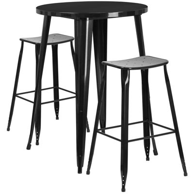 30'' Round Metal Indoor/Outdoor Bar Table Set with 2 Saddle Seat Stools