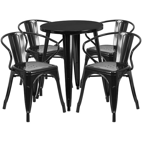 24'' Round Metal Indoor/Outdoor Table Set with 4 Arm Chairs