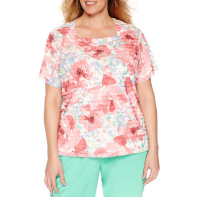 Alfred Dunner Square Neck Ruffle Tee-Plus