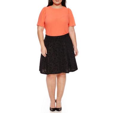 jcpenney.com   Worthington Flutter Sleeve Crepe Blouse, Embossed A-Line Skirt - Plus