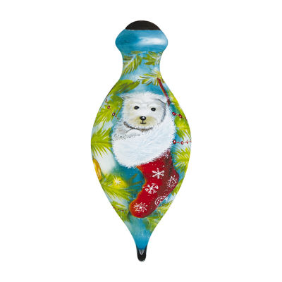 "Ne'Qwa Art  ""Cozy Christmas Pup"" Artist Sarah Summers  Petite Brilliant-Shaped Glass Ornament#7161179"