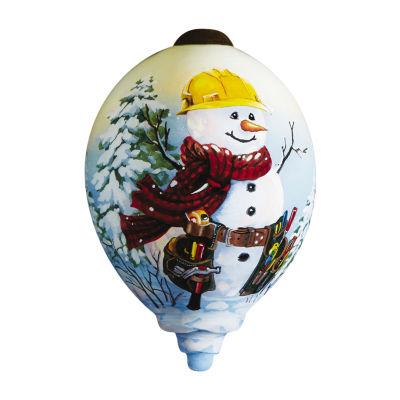 "Ne'Qwa Art  ""Handy Helper Snowman"" Artist Dona Gelsinger  Petite Princess-Shaped Glass Ornament  #7161190"