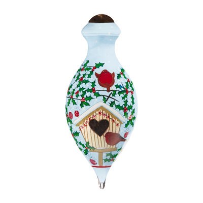 "Ne'Qwa Art  ""Holiday Love Birds"" Artist KateMawdsley  Petite Brilliant-Shaped Glass Ornament#7161192"