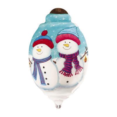 "Ne'Qwa Art  ""There's Snow One Like You"" Artist Kate Mawdsley  Petite Trillion-Shaped Glass Ornament  #7161193"
