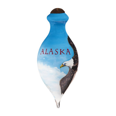 "Ne'Qwa Art  ""Alaska Eagle"" Artist Don Kloetzke  Petite Brilliant-Shaped Glass Ornament  #7169902"