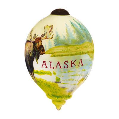 "Ne'Qwa Art  ""Alaska Moose"" Artist Lee Stroncek  Petite Princess-Shaped Glass Ornament  #7169903"