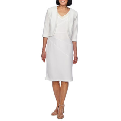 Maya Brooke 3/4 Sleeve Embellished Jacket Dress