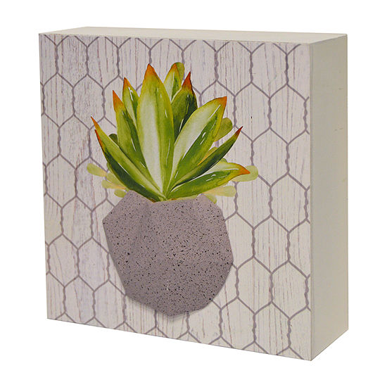 New View Succulent Artwork On Reversed Box With Raised Resin Element