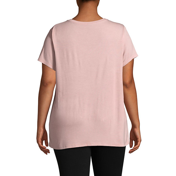 Ambrielle Short Sleeve V Neck Pajama Top-Plus
