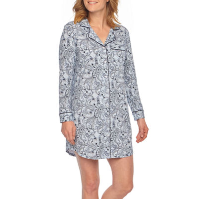 Liz Claiborne Jersey Long Sleeve Notch Collar Nightshirt