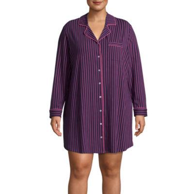 Liz Claiborne Long Sleeve Notch Collar Nightshirt-Plus