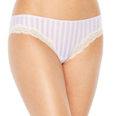 Ambrielle Sheer Stripe Knit Bikini Panty