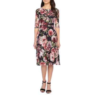 Melrose 3/4 Sleeve Floral Lace Fit & Flare Dress