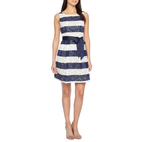 Robbie Bee Sleeveless Lace Stripe Fit & Flare Dress