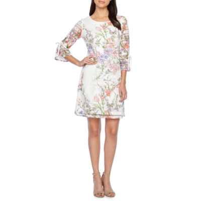 R & K Originals 3/4 Sleeve Floral Lace Shift Dress
