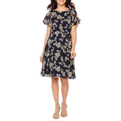R & K Originals Short Sleeve Floral A-Line Dress