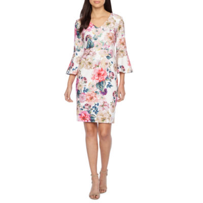 Ronni Nicole 3/4 Bell Sleeve Floral Shift Dress