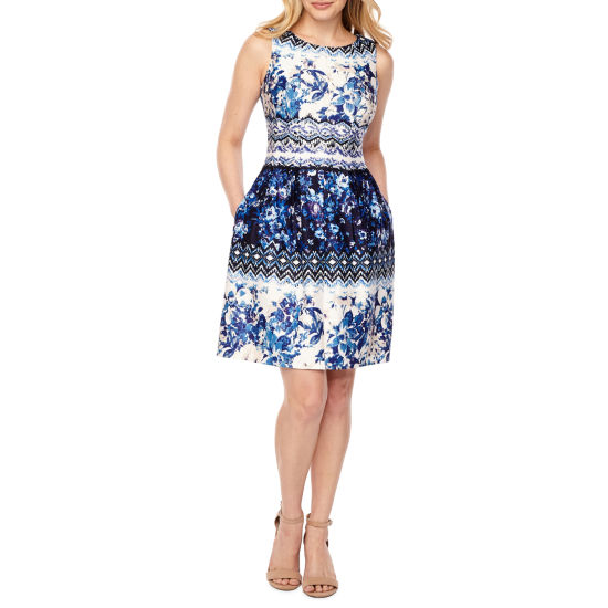 Danny & Nicole Short Sleeve Floral Fit & Flare Dress-Petite