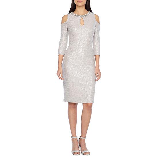 Melrose 3 4 Sleeve Embellished Sheath Dress