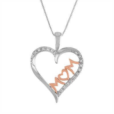 Womens Diamond Accent Genuine White Diamond 10K Two Tone Gold Heart Pendant Necklace