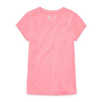 Xersion Short Sleeve V Neck T-Shirt-Big Kid Girls Plus