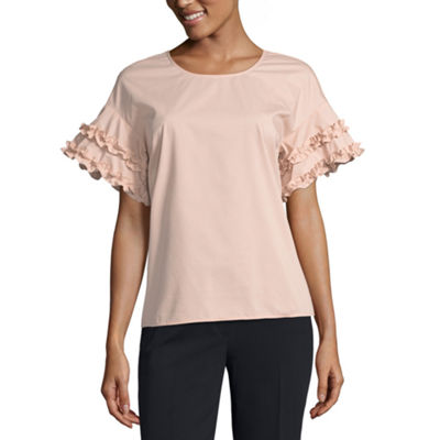 Worthington Short Sleeve Crew Neck Poplin Ruffled Blouse-Petite