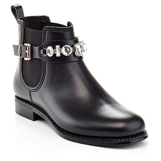 Henry Ferrera Womens Marsala Flat Heel Slip-on Rain Boots