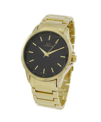 Ny London Mens Gold Tone Bracelet Watch-9336