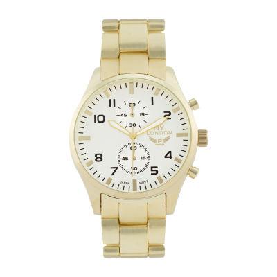 Ny London Mens Gold Tone Bracelet Watch-1539