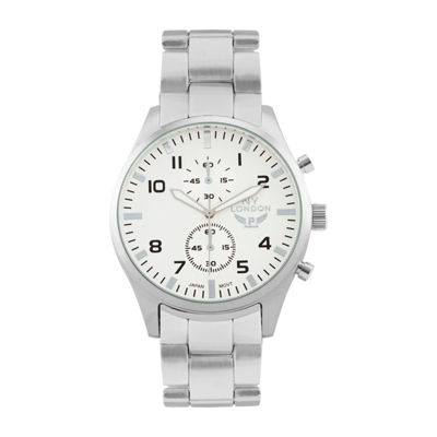 Ny London Mens Silver Tone Bracelet Watch-1539