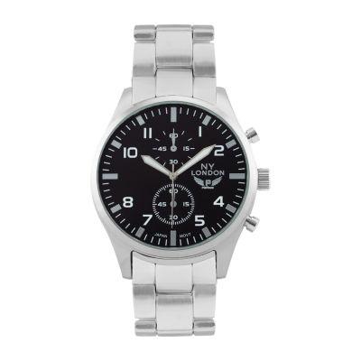 Ny London Mens Silver Tone Bracelet Watch-1539