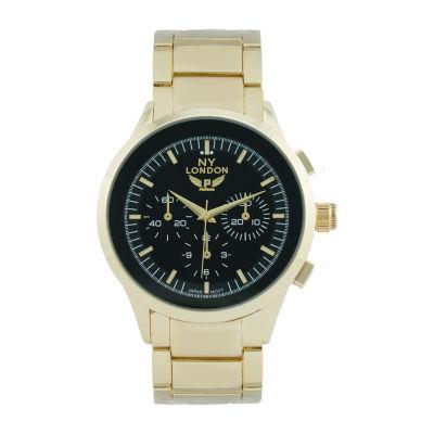 Ny London Mens Gold Tone Bracelet Watch-1541