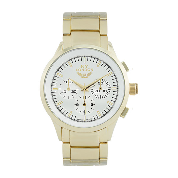 Ny London Mens Gold Tone Bracelet Watch-1541