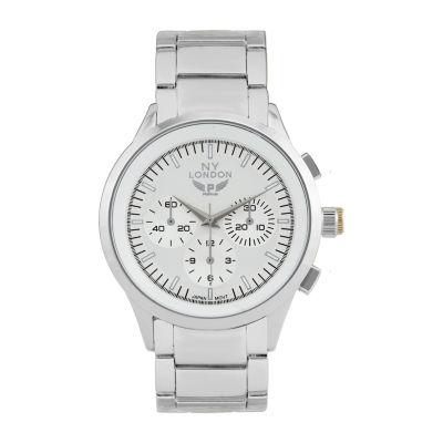 Ny London Mens Silver Tone Bracelet Watch-1541