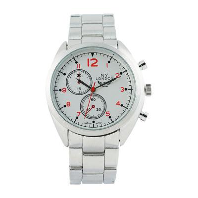 Ny London Mens Silver Tone Bracelet Watch-1542