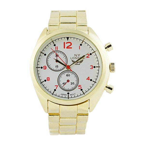 Ny London Mens Gold Tone Bracelet Watch-1542