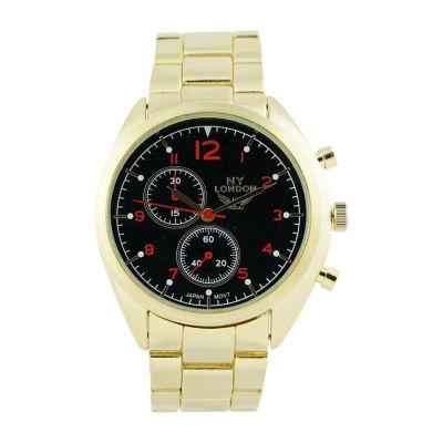 Ny London Mens Gold Tone Bracelet Watch-1542