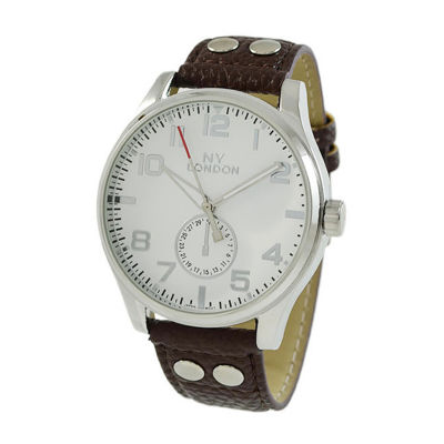 Ny London Mens Brown Strap Watch-5942