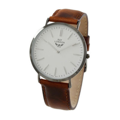 Ny London Mens Brown Strap Watch-10015