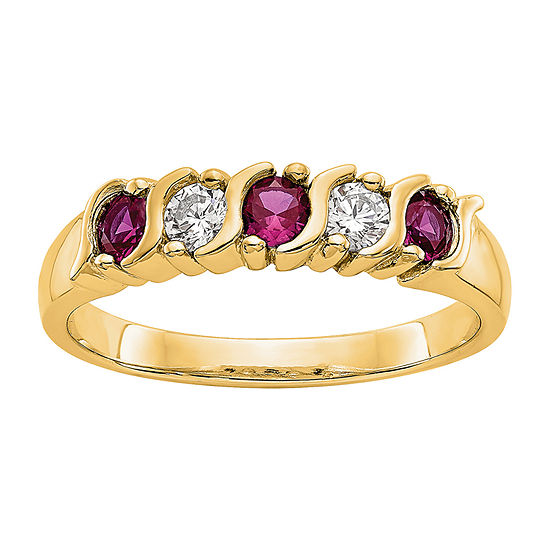 Womens 2MM 1/5 CT. T.W. Genuine White Diamond 14K Gold Round Wedding Band