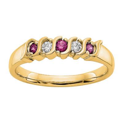 Womens 2MM 1/10 CT. T.W. Genuine White Diamond 14K Gold Round Wedding Band