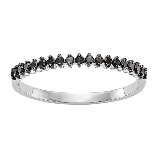 Womens 1/8 CT. T.W. Genuine Black Diamond 14K White Gold Round Wedding Band