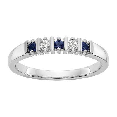 Womens 2MM Diamond Accent Genuine White Diamond 14K White Gold Round Wedding Band