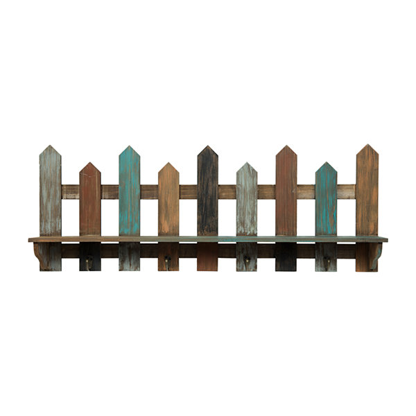 31.5X11.5 Wood Picket Fence Ledge W/ Hook